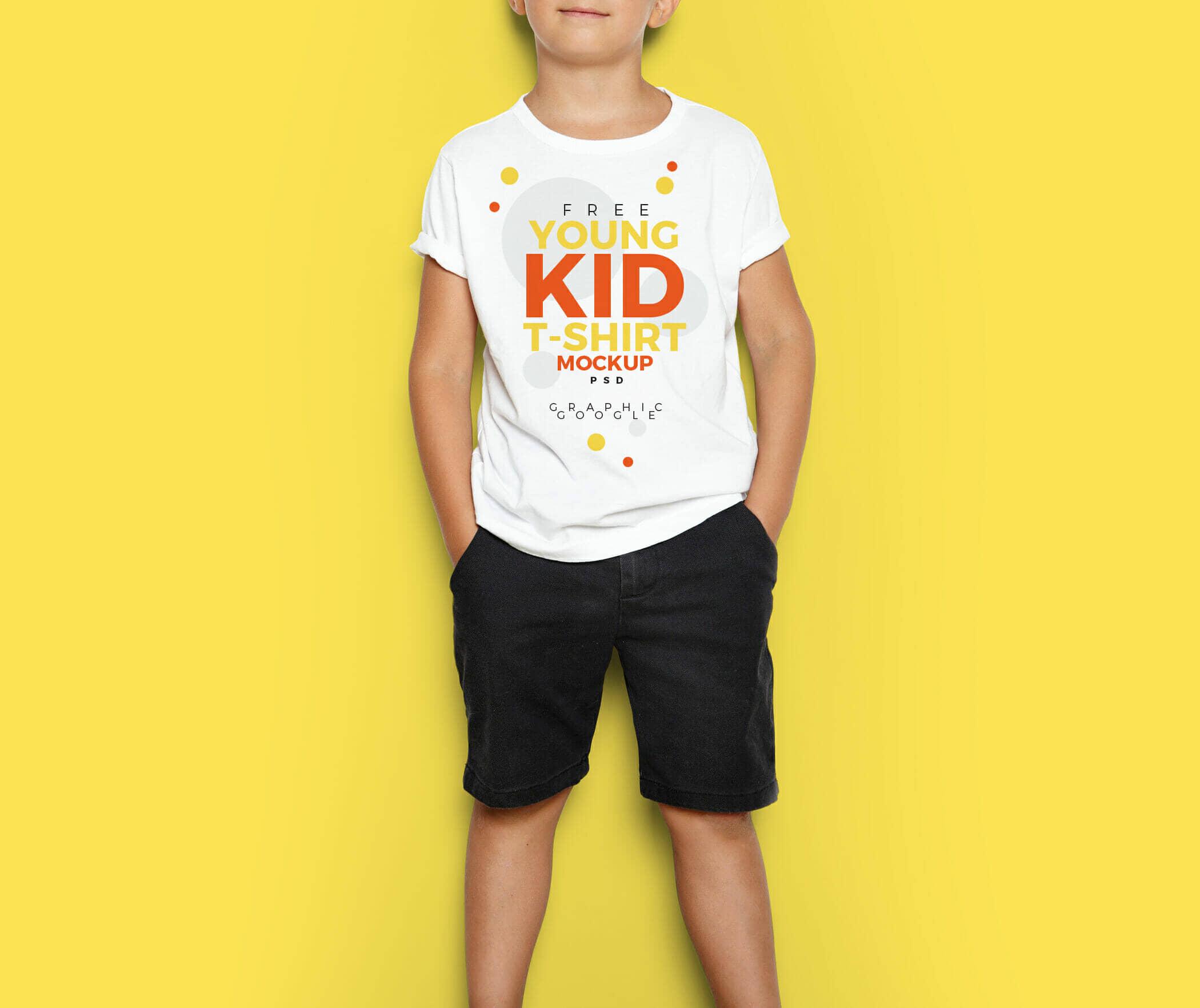 Free Young Kid T-Shirt MockUp