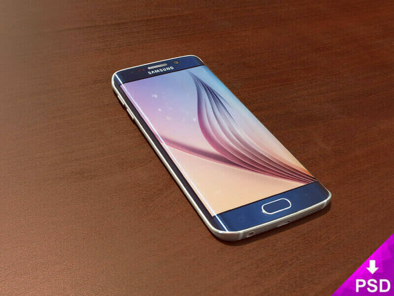 Blue Samsung S6 Edge Mockup