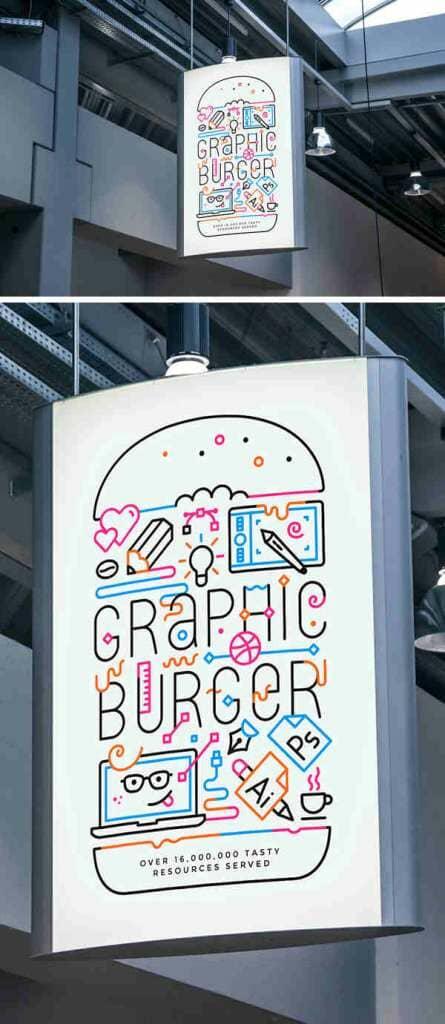 Artistic Indoor Advertising Poster Mockup