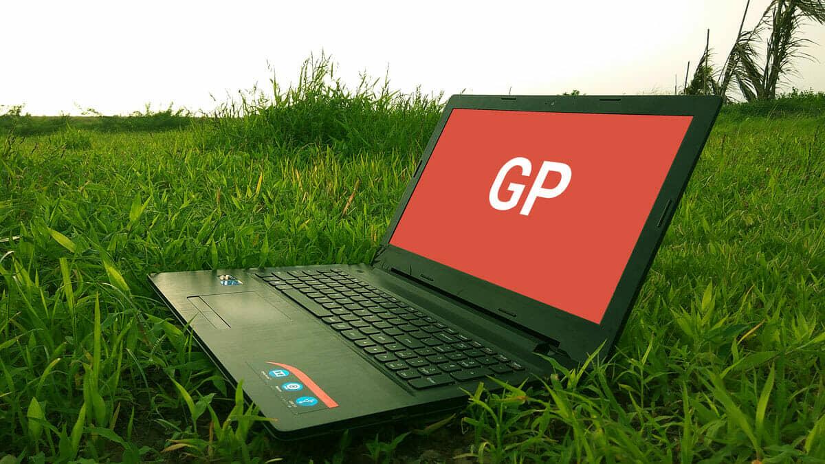 New Laptop on Grass Mockup