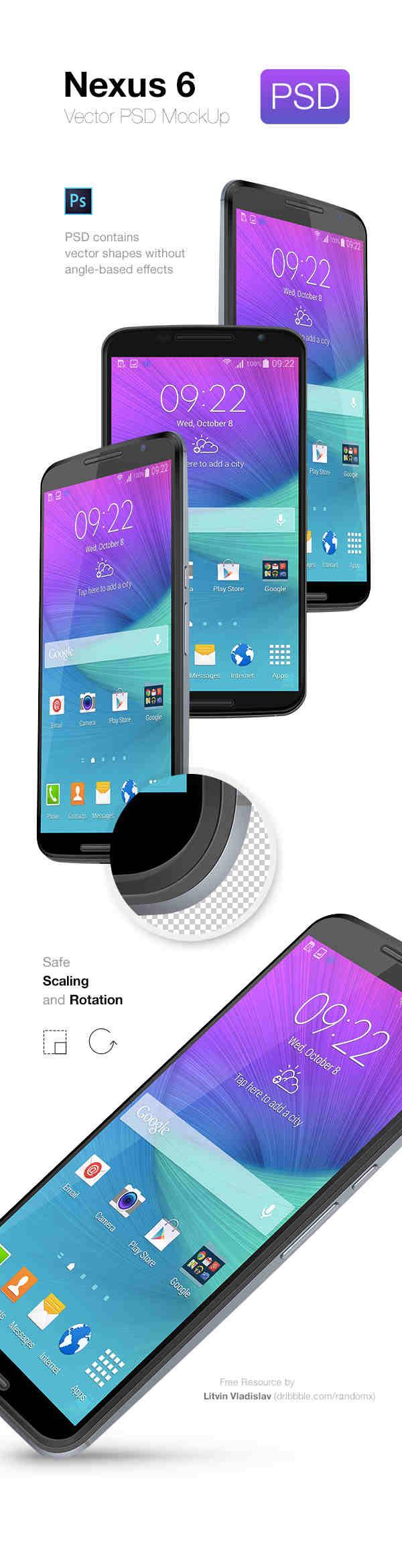 Realistic Nexus 6 Mockup