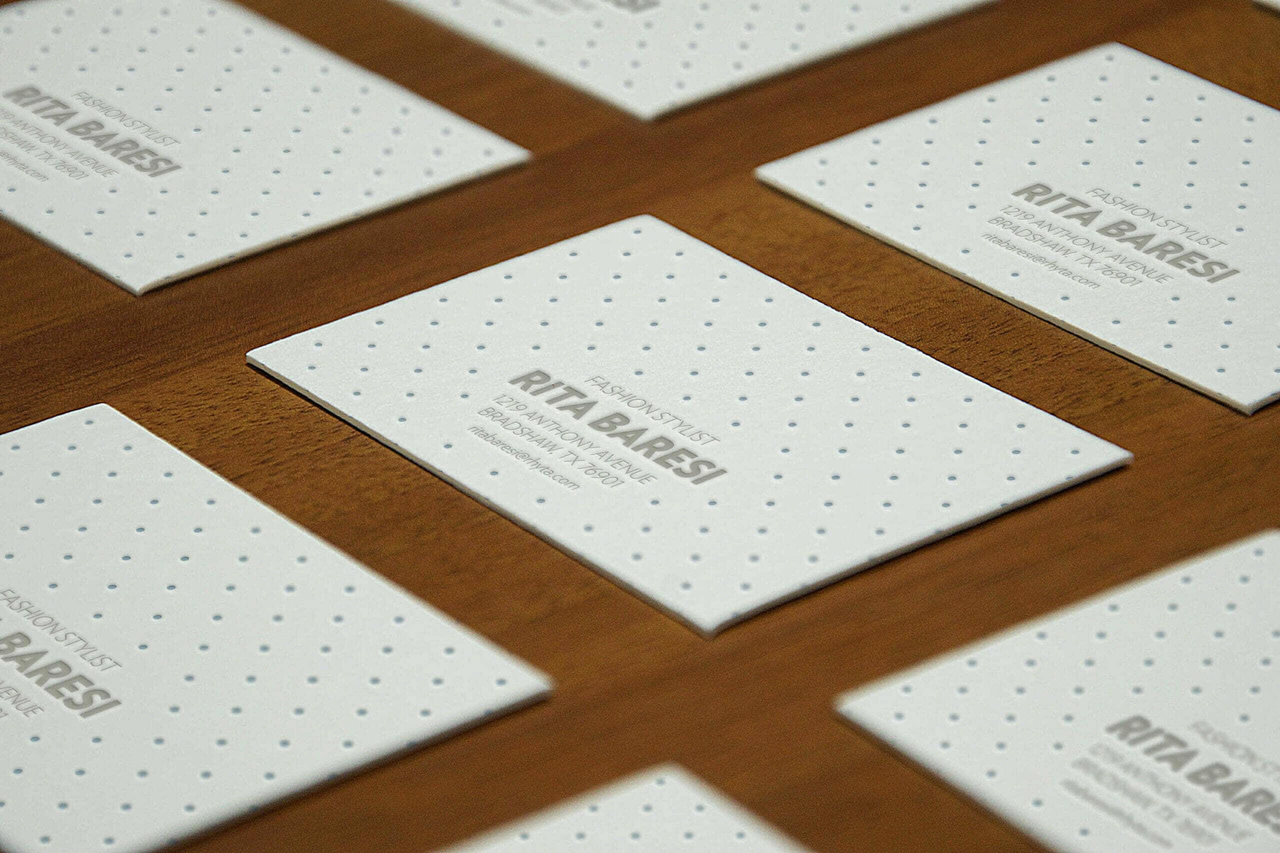 Letterpress Business Cards Perspective Mockup