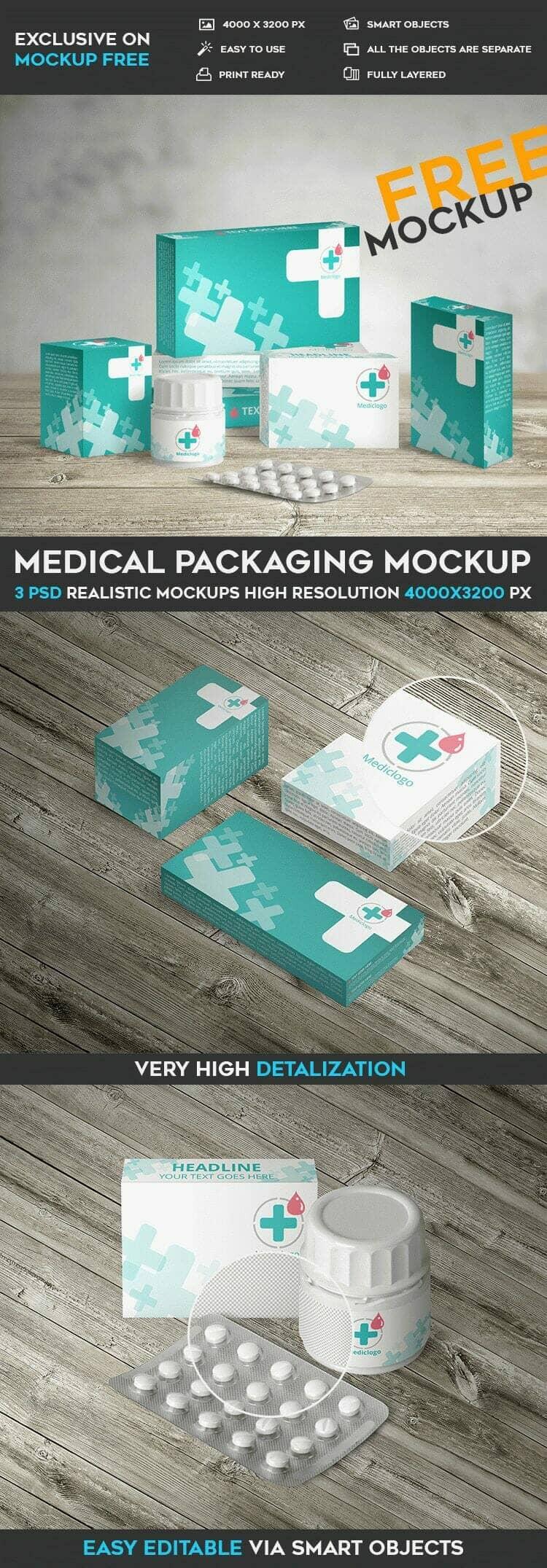 Free Medical Packaging Mockup
