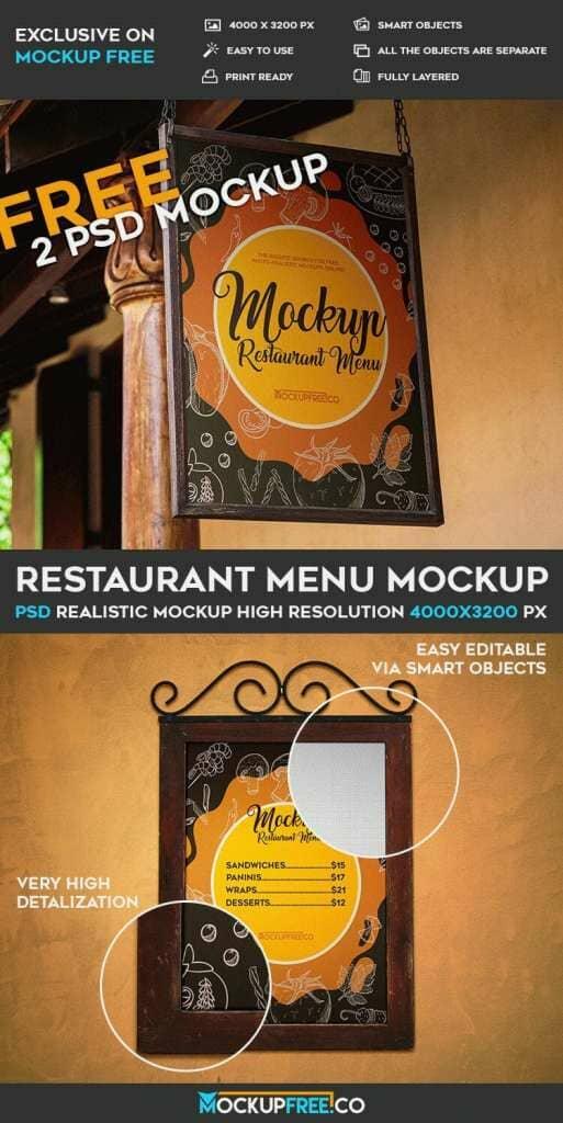 Restaurant Menu – 2 Free Mockups