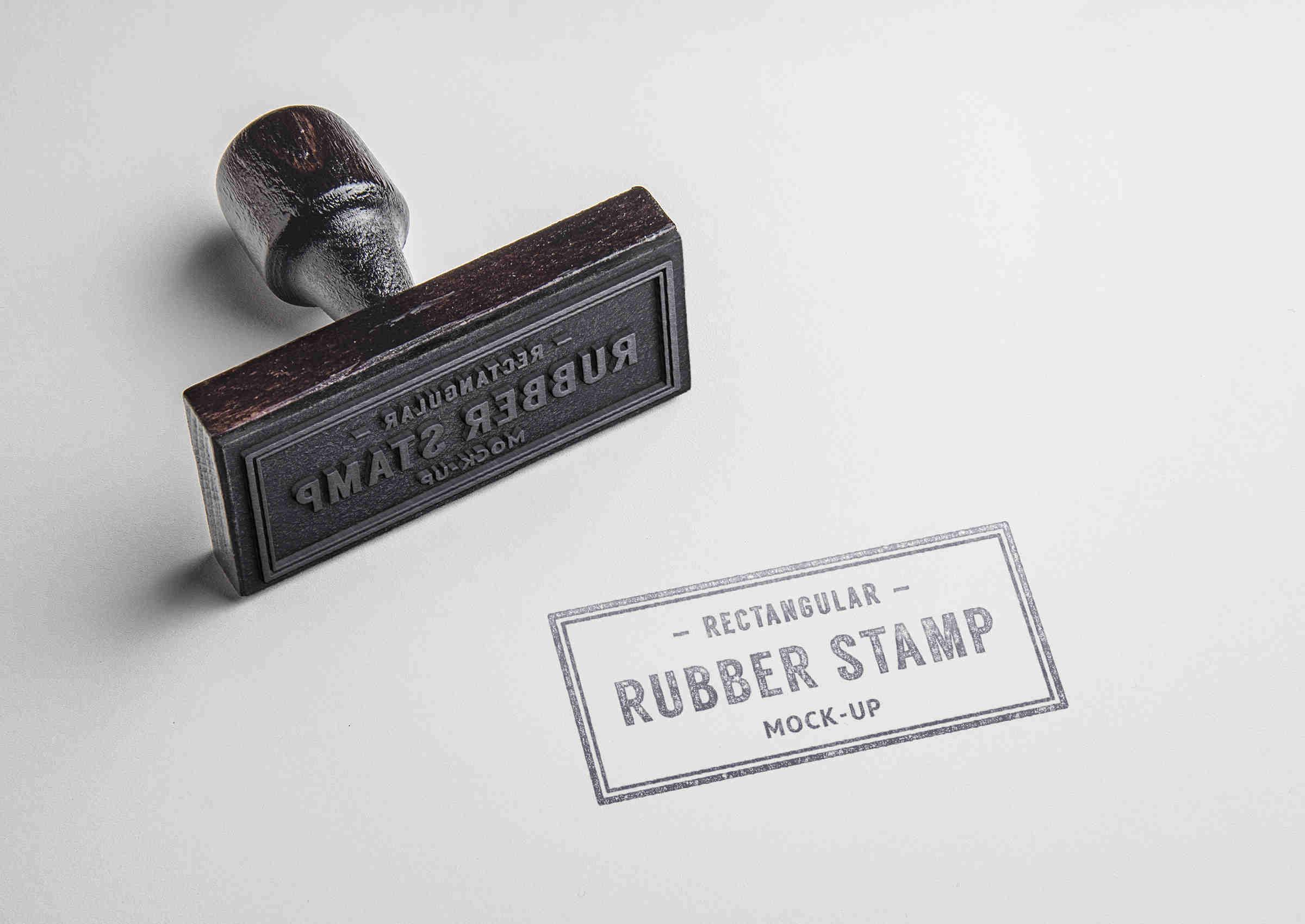 Rectangular Rubber Stamp Mockup