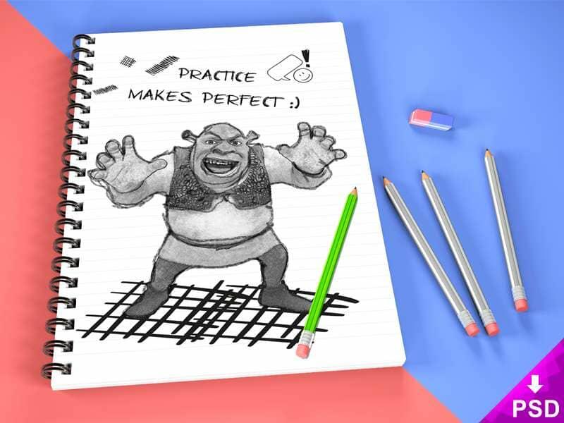 Spring Sketch Book Mockup