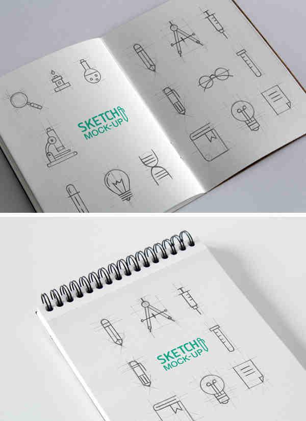 Clean Rectangular Sketchbook Mockup