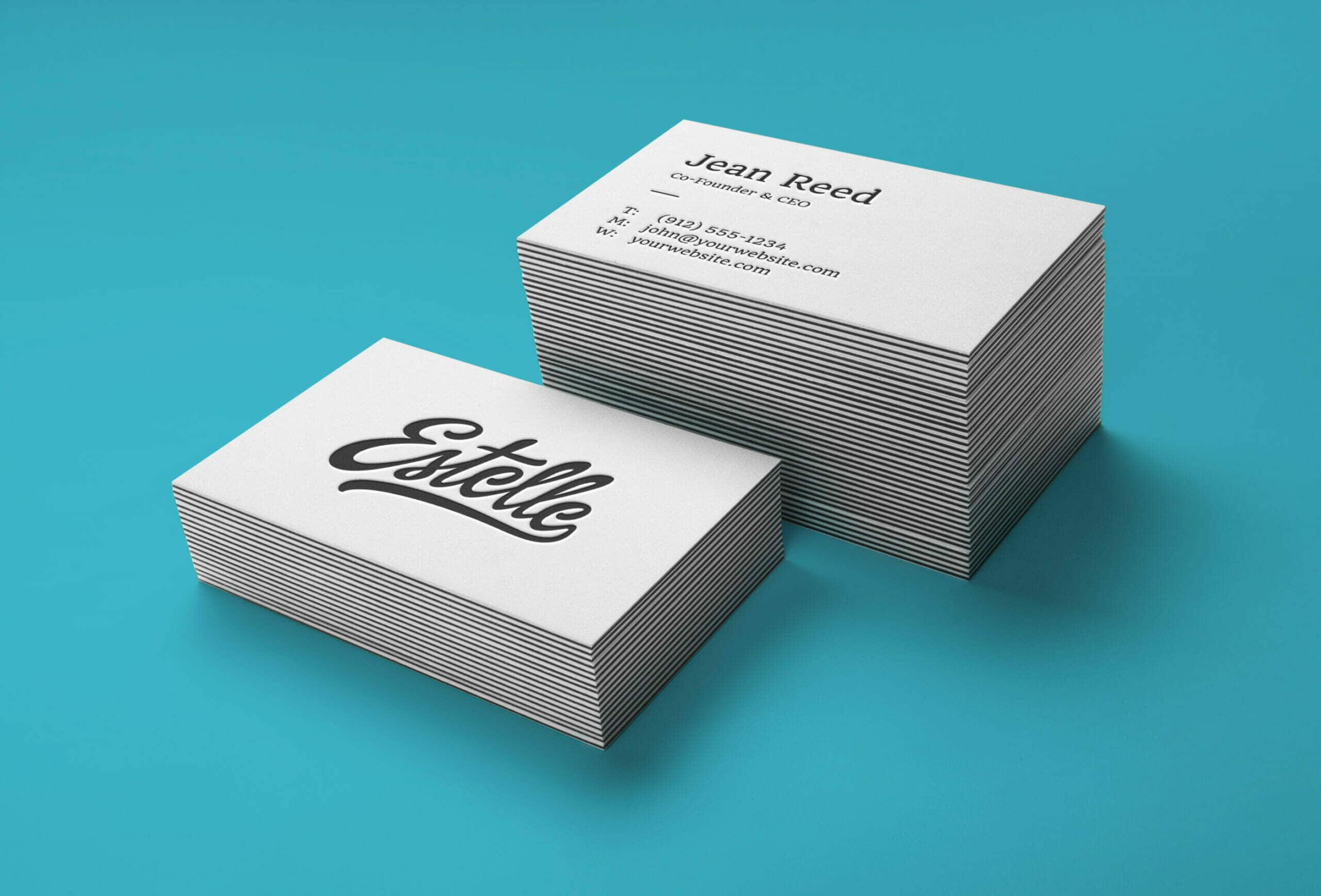 Clean Stack Letterpress Business Cards Mockup