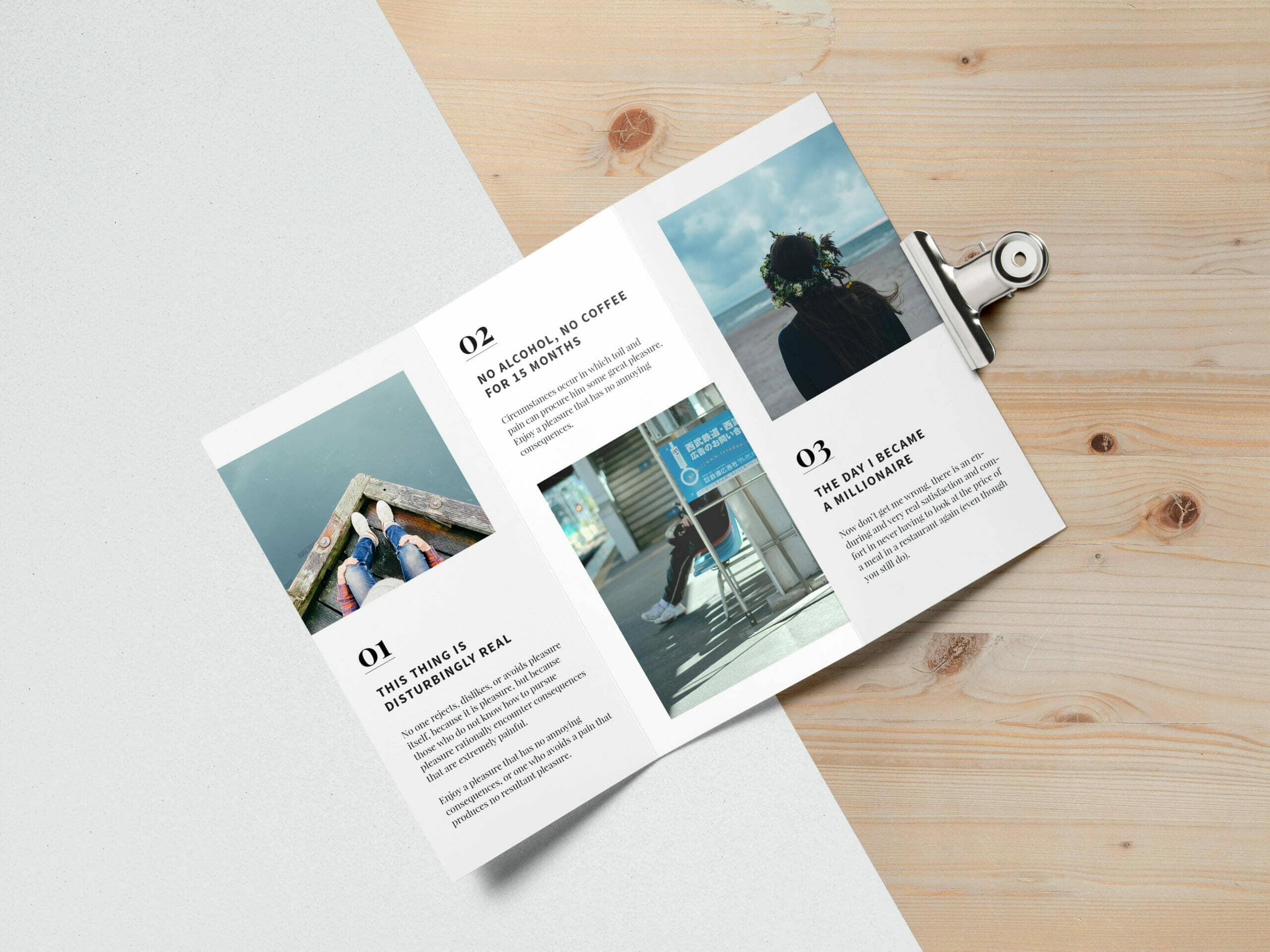 Minimalist Tri Fold Brochure MockUp