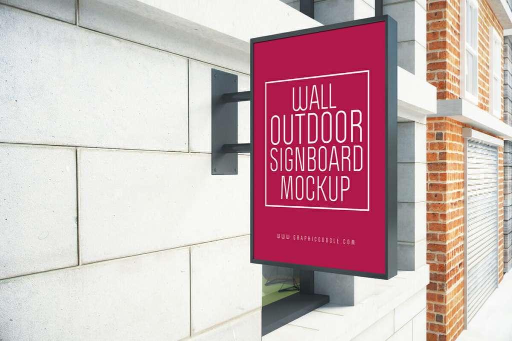 Wall Outdoor Signboard Mockup