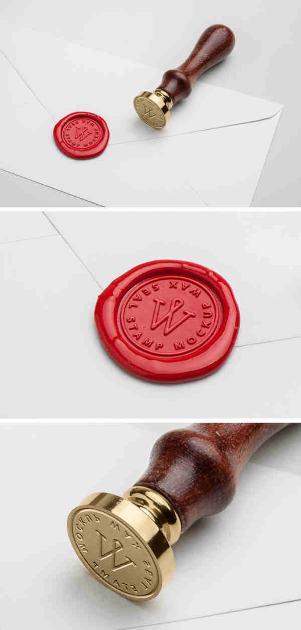 Wooden Wax Seal Stamp Mockup