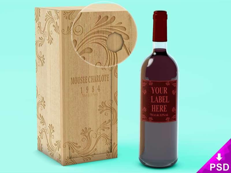 Wine Bottle with Wooden Case Mockup