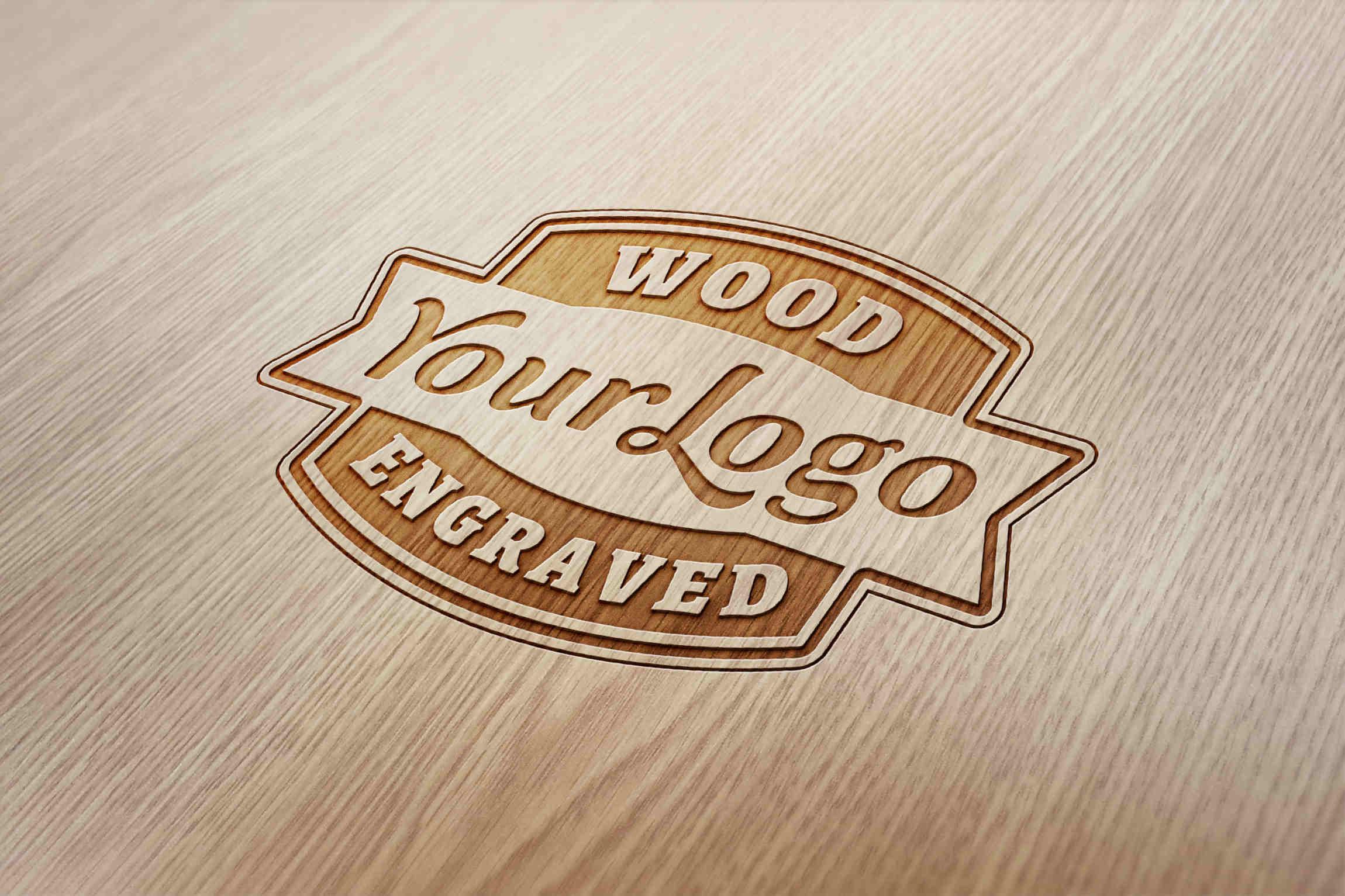 Vintage Wood Engraved Logo Mockup