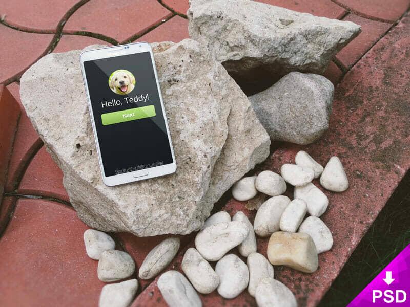 Samsung Galaxy Note 3 on Stone Mockup