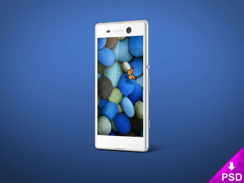 White Sony Xperia M5 Mockup