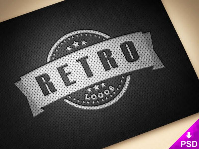 Retro Leather Logo Text Effect Mockup