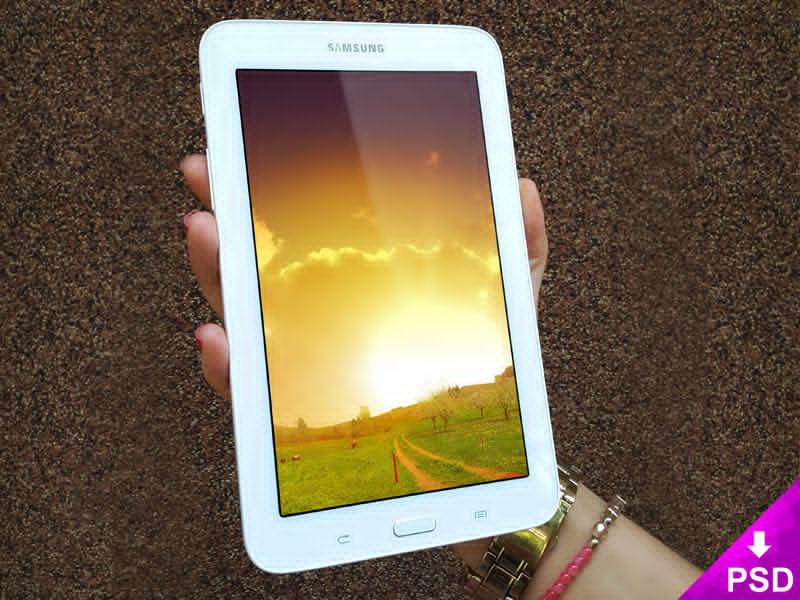 White Samsung Galaxy Tab 3 Mockup