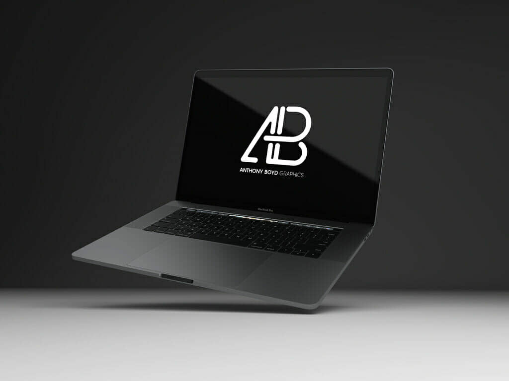 Floating Black MacBook Pro Mockup