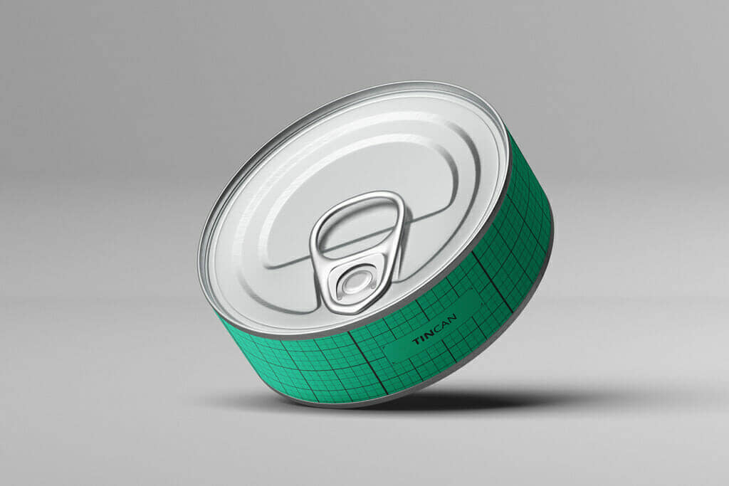 Free Flat Tin Can Mockups with 2 Angles