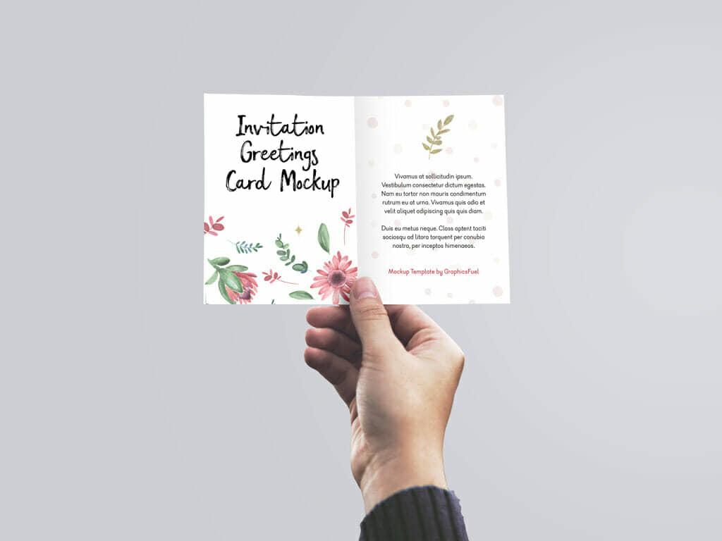 Holding Invitation Card Mockup