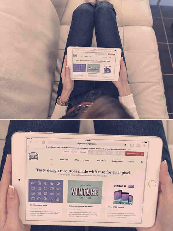 White iPad Mini 3 Photo Mockup