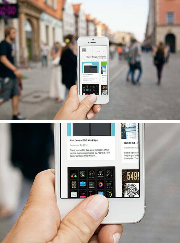 White iPhone 5 Urban Photo Mockup