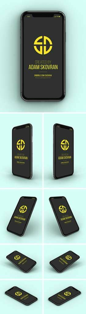 iPhone X MockUps – 9 Angles