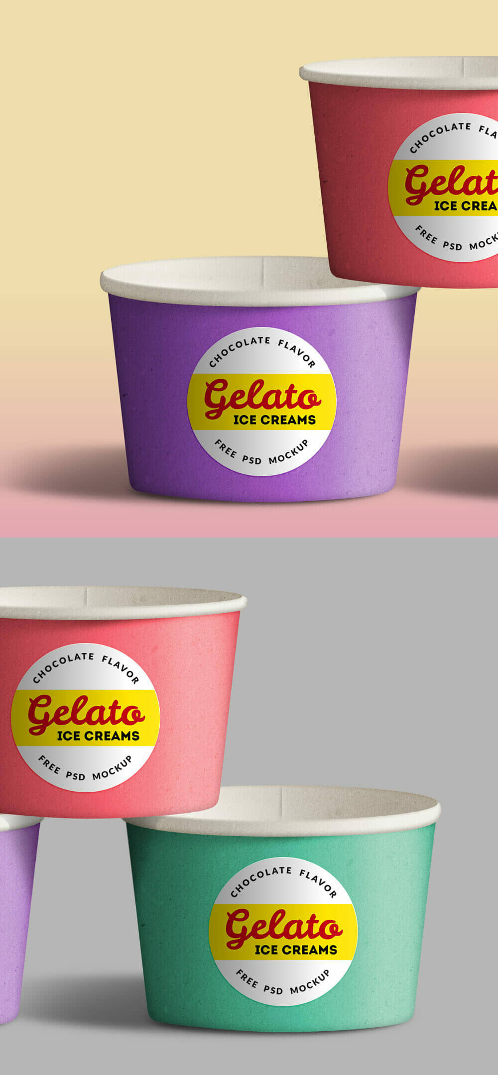 Colorful Ice Cream Cup Mockup