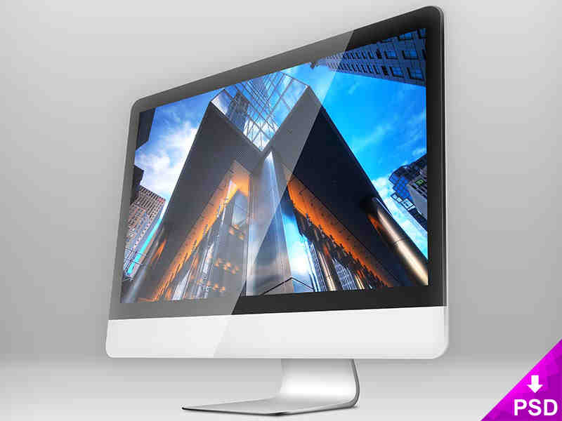 Standing Apple iMac Mockup