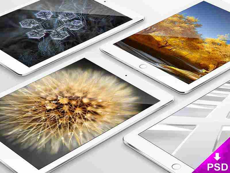 4 White Apple iPad Mockup