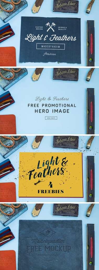 Light & Feather: 4 Free Scene MockUps