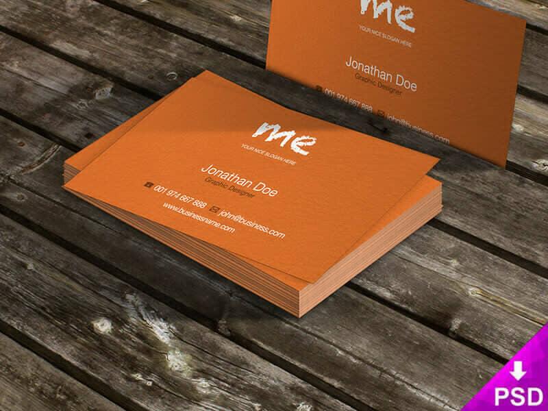 Orange Business Cards on Table Mockup