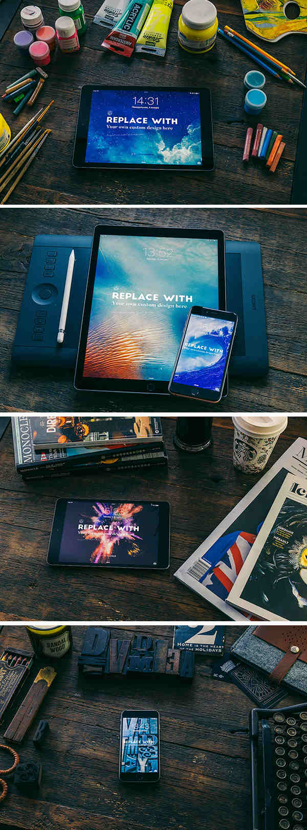 4 Apple Devices in a Stylish Background Mockups