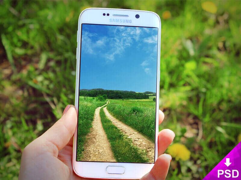 White Samsung S6 Edge Nature Mockup