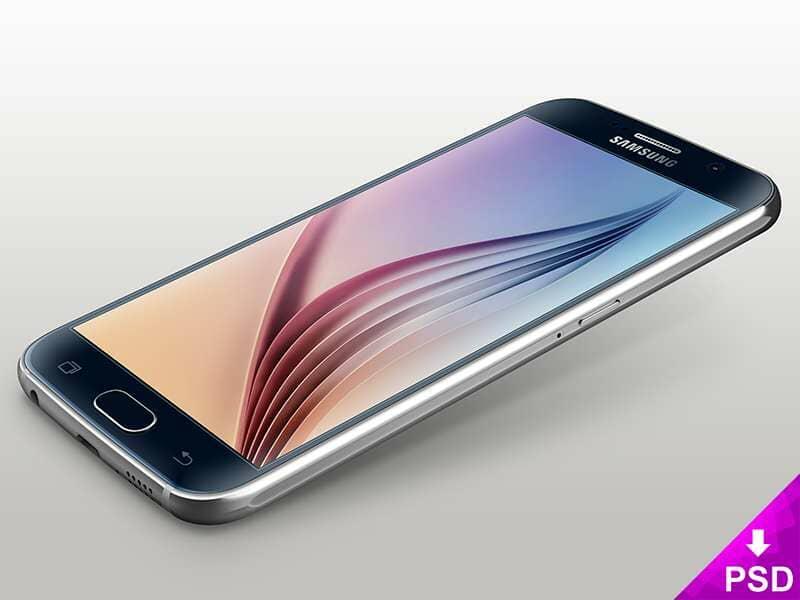Blue Samsung Galaxy S6 Mockup