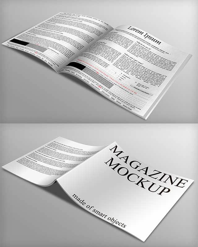 White Magazine with Black Print Mockup