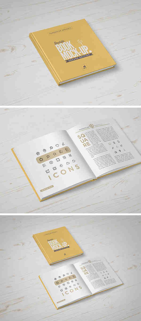 Gold Square Book Mockup