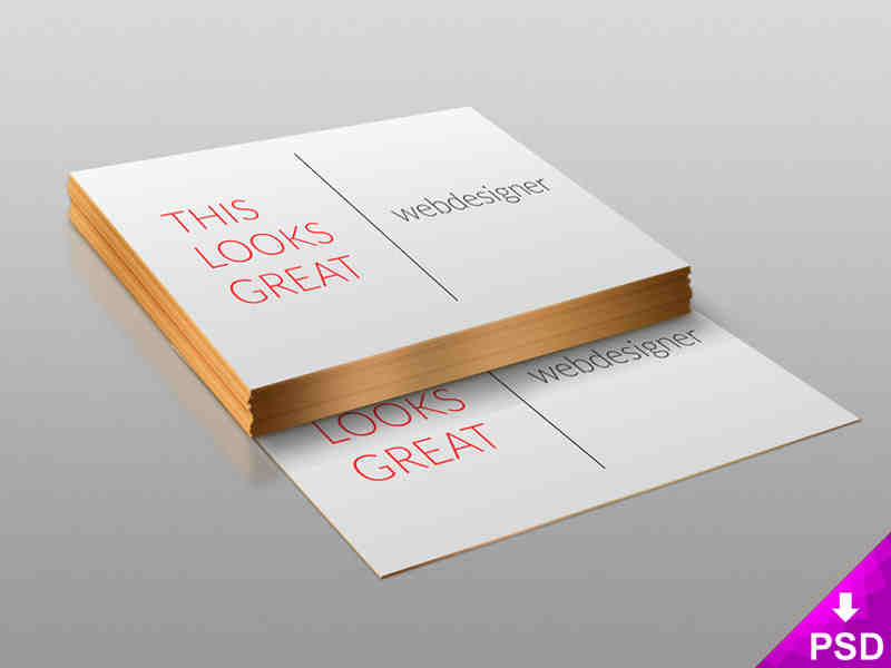 Stack of White with Gold Business Cards Design