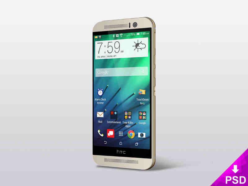 Standing HTC One (M8) Mockup