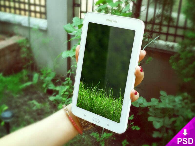 Grass Themed Samsung Galaxy Tab 3 Mockup