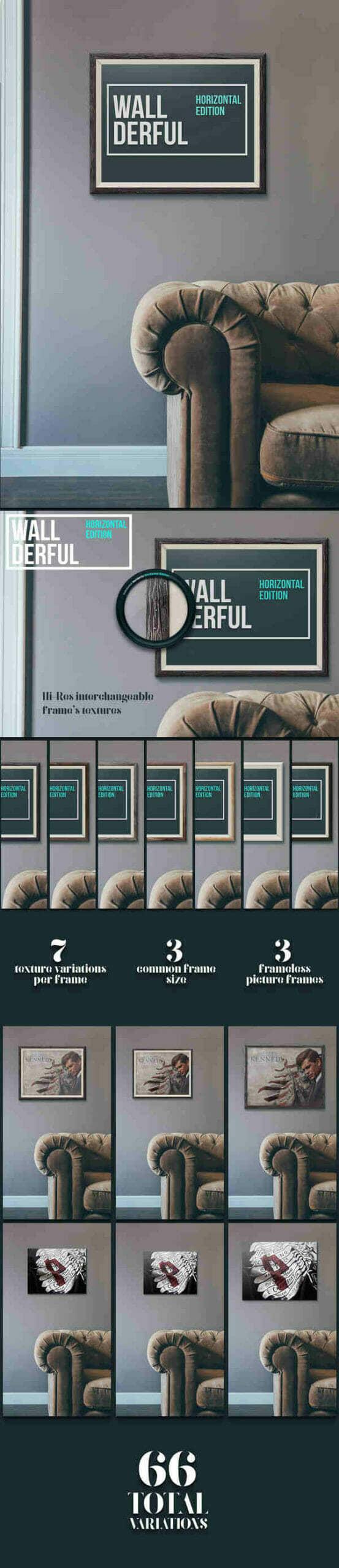 Wallderful: Horizontal Frames Mockups