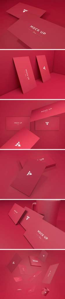 6 Colorful Business Cards Mockup