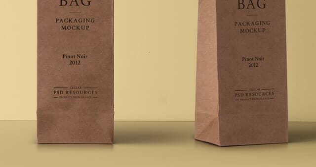 Realistic Wine Cardboard Bag Mockup