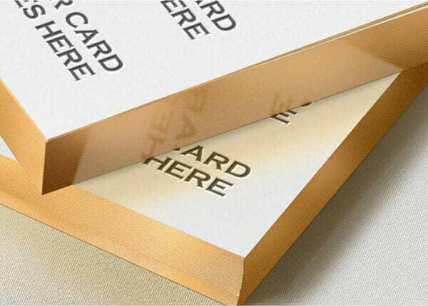 Free Gold Edge Letterpress Bcard Mock-up