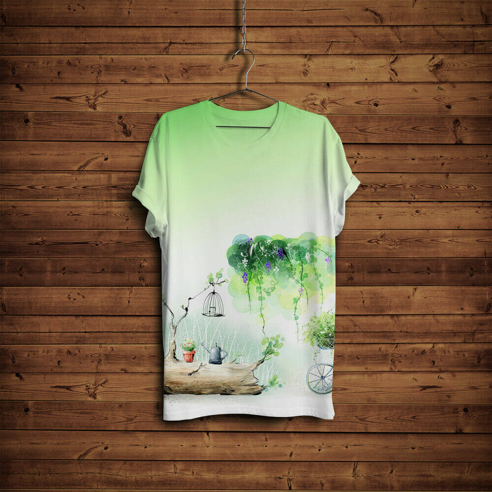 T-Shirt Mockup with Hanger & Wooden Background