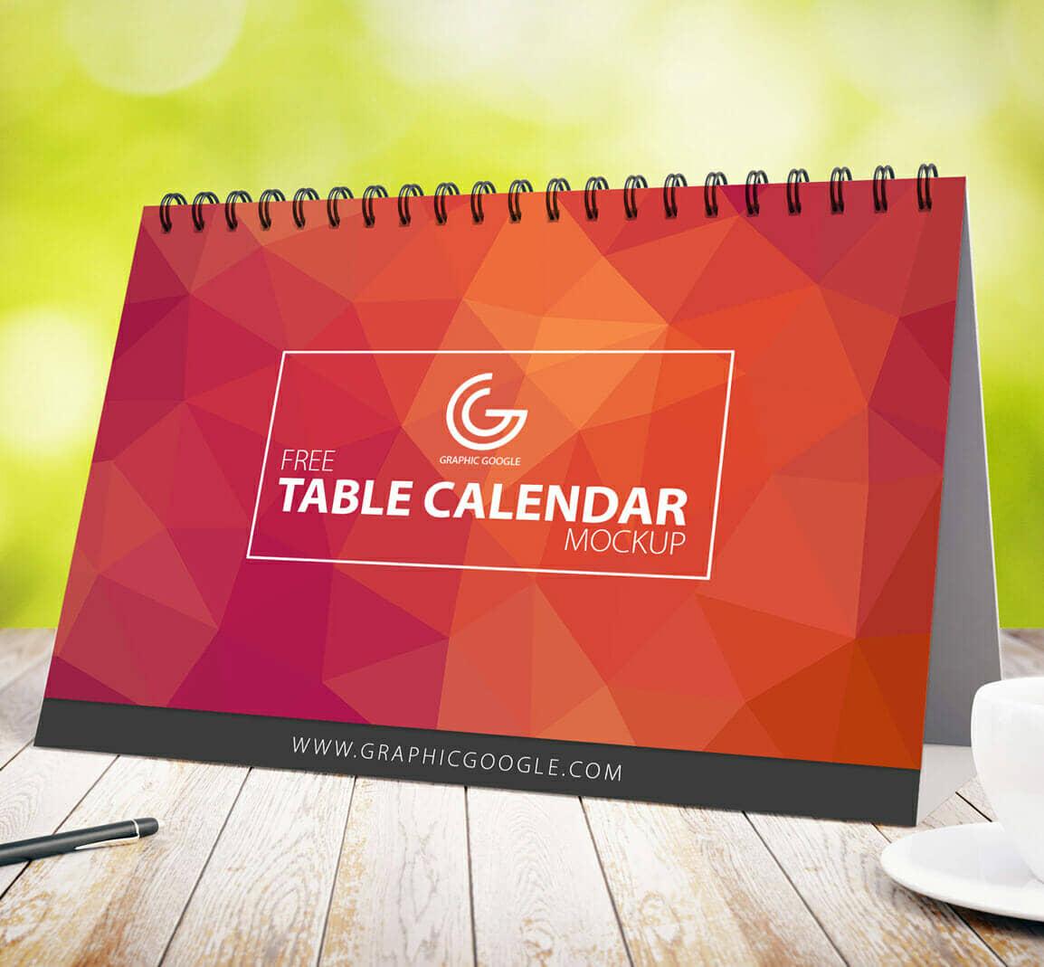 Free Table Calendar Mockup For 2017