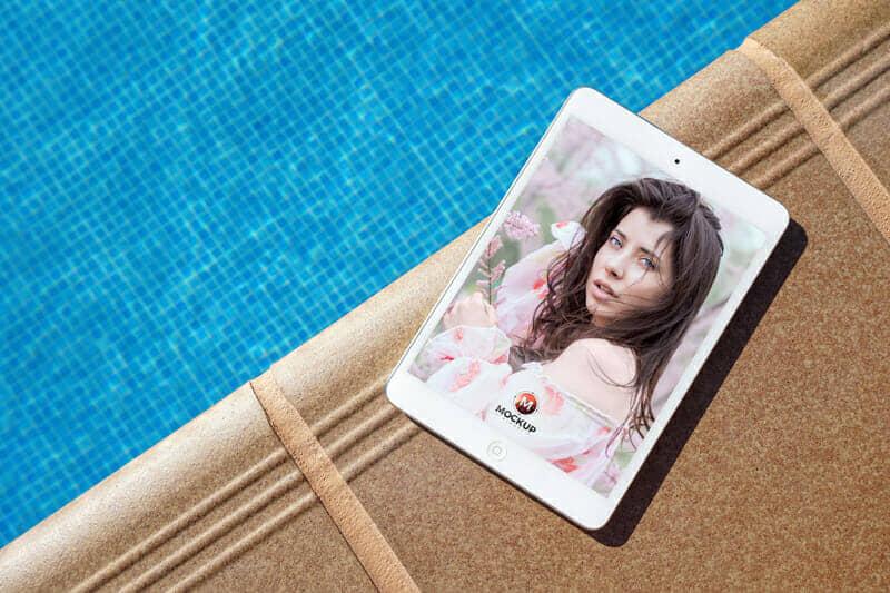 iPad Mockup Beside Swimming Pool