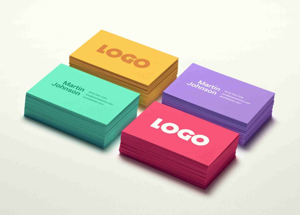 Stacks of Colorful Business Card Mockup