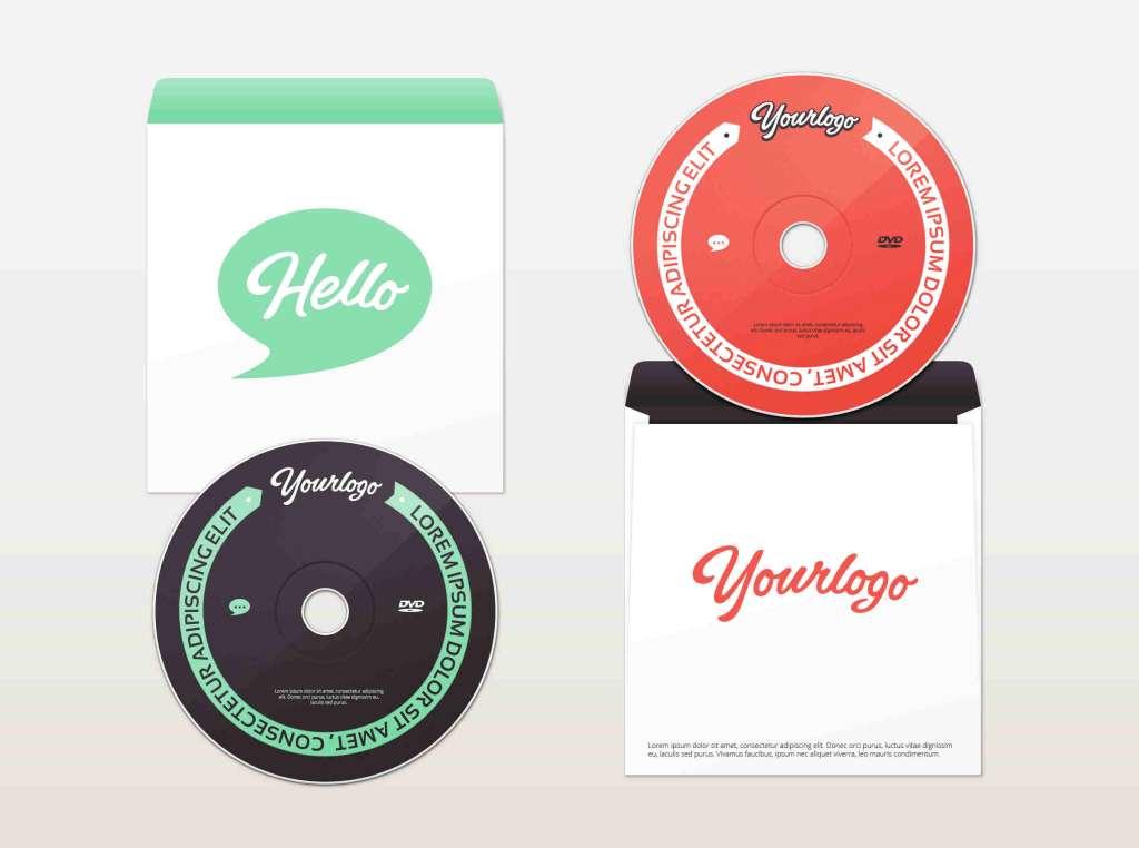 Bright DVD & Paper Envelope Mockup