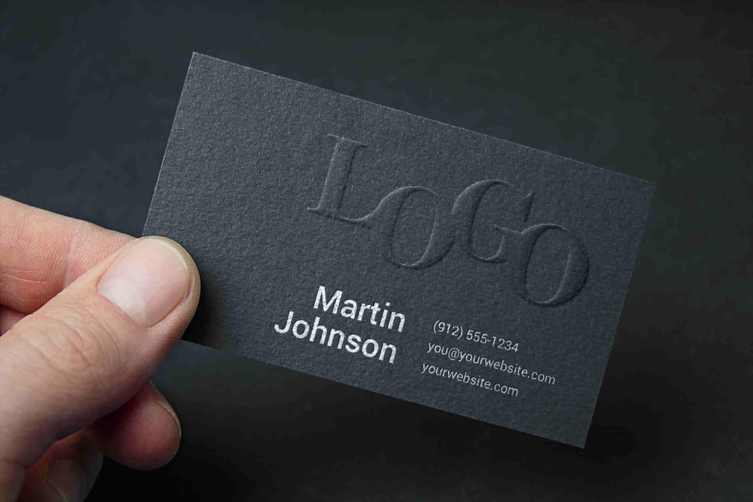 Photorealistic Embossed Black Business Card Mockup